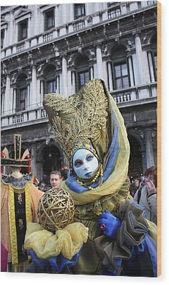 Carnival-goer In Blue And Gold Wood Print by Pam Blackstone