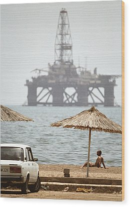 Caspian Sea Oil Rig Wood Print by Ria Novosti