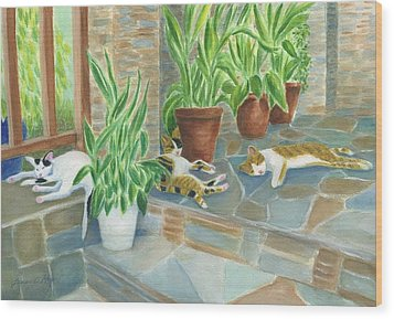 Cat Nap Time  Wood Print by Jeanne Kay Juhos