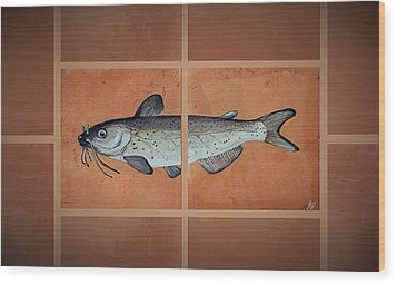 Catfish Wood Print by Andrew Drozdowicz