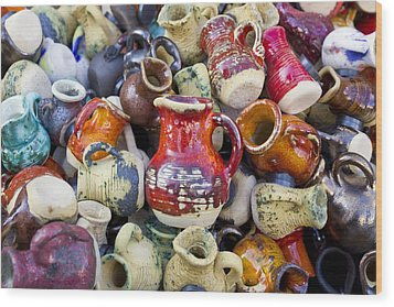 Ceramic  Jugs And Cups  Wood Print