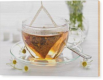Chamomile Tea Wood Print by Elena Elisseeva