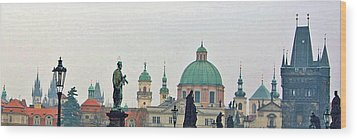 Charles Bridge And Old Town Prague Wood Print by Paul Pobiak