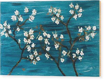 Cherry Blossoms Wood Print by Gretchen Martini