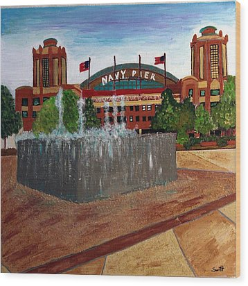 Chicago Navy Pier Wood Print by Char Swift