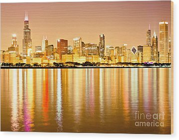 Chicago Skyline At Night Photo Wood Print by Paul Velgos