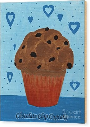 Chocolate Chip Cupcake Wood Print by Barbara Griffin