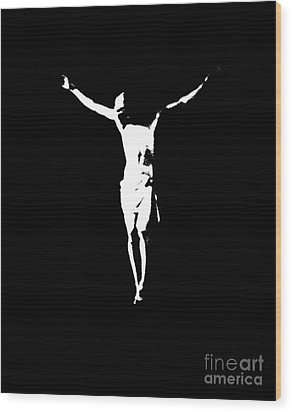 Christ In Black And White  Wood Print