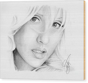 Christina Aguilera Wood Print by Rosalinda Markle