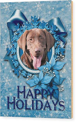 Christmas - Blue Snowflakes Labrador Wood Print by Renae Laughner