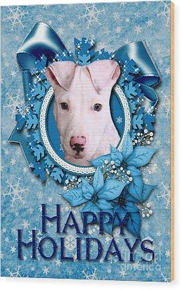 Christmas - Blue Snowflakes Pitbull Wood Print by Renae Laughner