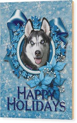 Christmas - Blue Snowflakes Siberian Husky Wood Print by Renae Laughner