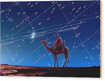 Christmas Star As Planetary Conjunction Wood Print by Detlev Van Ravenswaay
