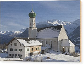 Church In Winter Wood Print by Matthias Hauser