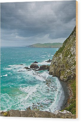 Cliffs Under Thunder Clouds And Turquoise Ocean Wood Print by Ulrich Schade
