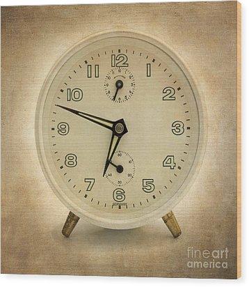 Clock Wood Print by Bernard Jaubert