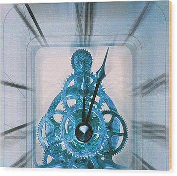 Clock Mechanism Wood Print by Victor De Schwanberg