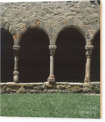 Cloister Of Lavaudieu. Haute Loire. Auvergne. France. Wood Print by Bernard Jaubert