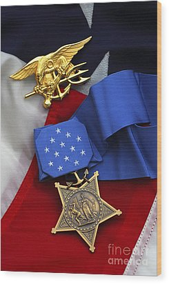Close-up Of The Medal Of Honor Award Wood Print by Stocktrek Images