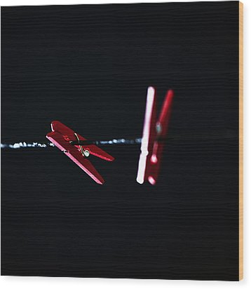 Cloth Pegs Wood Print by Joana Kruse