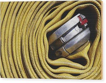 Coiled Fire Hose Wood Print by Skip Nall