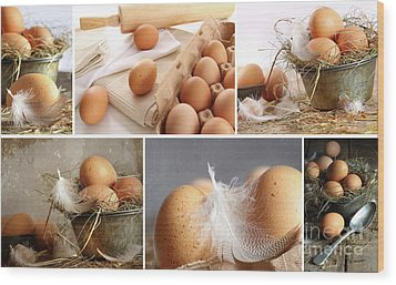 Collage Of Brown Eggs Images  Wood Print by Sandra Cunningham