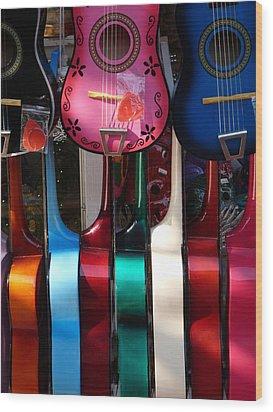 Colorful Guitars Wood Print by Jeff Lowe