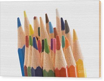 Colorful Pencils Wood Print by Soultana Koleska