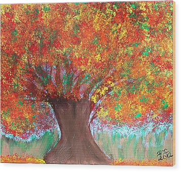 Colors Of Fall Wood Print by Paulette Ingersoll