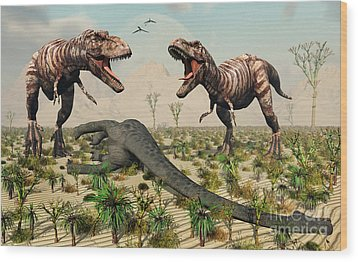 Confrontation Between A Pair Of T. Rex Wood Print by Mark Stevenson