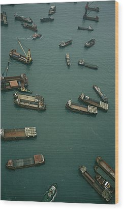 Container Ships In Hong Kong Harbor Wood Print by Justin Guariglia