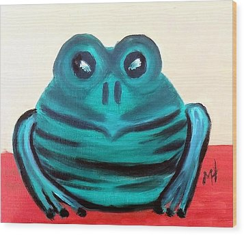 Wood Print featuring the painting Contented Male Frog by Margaret Harmon