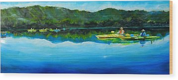 Conversation At Spring Lake Wood Print by Terrence  Howell