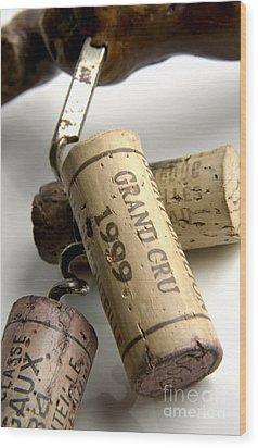 Corks Of French Wine Wood Print by Bernard Jaubert