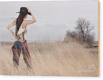 Country Girl Wood Print by Cindy Singleton