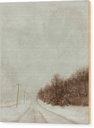 Country Road In Snow Wood Print by Jill Battaglia