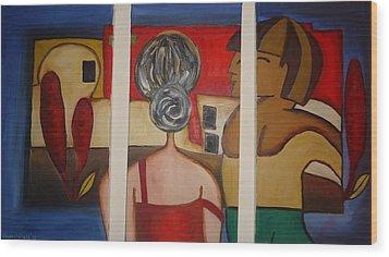 Couple On Window Wood Print by Shakhenabat Kasana