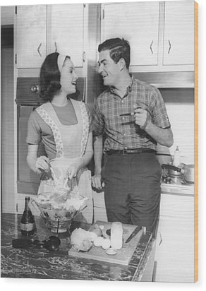 Couple Standing In Kitchen, Smiling, (b&w) Wood Print by George Marks