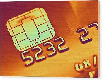 Credit Card Microchip, Computer Artwork Wood Print by Pasieka