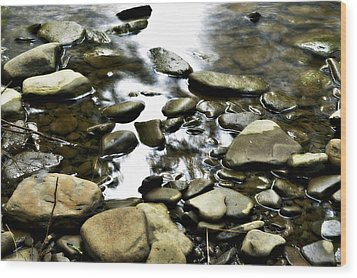 Creekstones Wood Print by Mary Frances