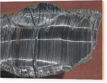 Crocidolite Asbestos Mineral Wood Print by Dirk Wiersma