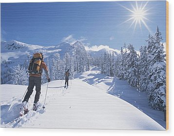 Cross-country Skiers In The Selkirk Wood Print by Jimmy Chin