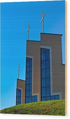 Wood Print featuring the photograph Crosses Of Livingway Church by Ed Gleichman