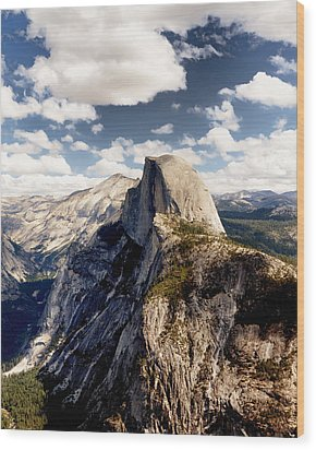Cumulus Clouds And Half Dome Yosemite National Park Wood Print by Troy Montemayor