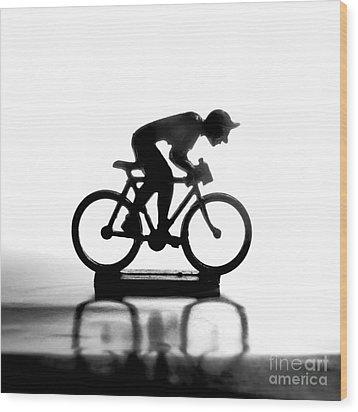 Cyclist Wood Print by Bernard Jaubert