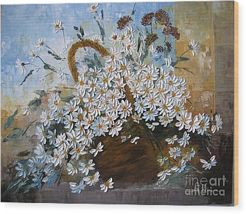 Daisies Wood Print by AmaS Art
