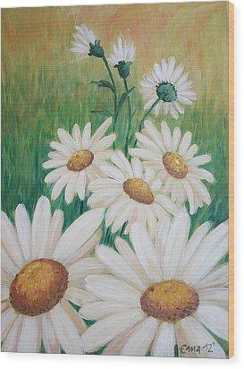 Daisies Wood Print by Ema Dolinar Lovsin