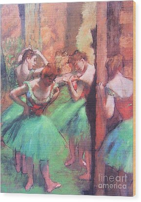 Dancers - Pink And Green Wood Print by Pg Reproductions