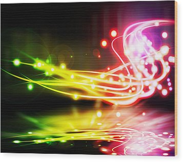 Dancing Lights Wood Print by Setsiri Silapasuwanchai