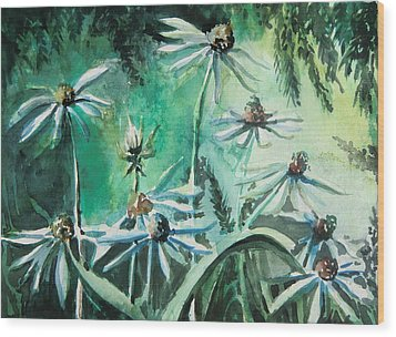 Dancing With Daisies Wood Print by Mindy Newman